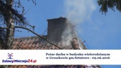 Pożar dachu w budynku wielorodzinnym w Groszkowie gm.Sztutowo - 09.06.2016