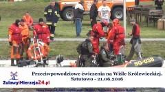 Przeciwpowodziowe ćwiczenia na Wiśle Królewieckiej. Sztutowo - 21.06.2016