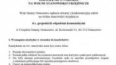 Wolne stanowisko urzędnicze d.s. gospodarki odpadami komunalnymi. Wójt Gminy Ostaszewo informuje - 20.10.2016