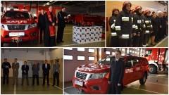 Nowy Dwór Gd. Uroczyste przekazanie sprzętu pożarniczego i samochodu dla KPPSP - 21.12.2016