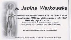 Zmarła Janina Werkowska. Żyła 87 lat.
