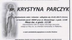 Zmarła Krystyna Parczyk. Żyła 81 lat.