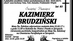 Zmarł Kazimierz Brudziński. Żył 83 lata.