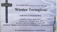 Zmarł Wiesław Tarnogórski. Żył lat 60