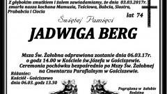 Zmarła Jadwiga Berg. Żyła 74 lata.