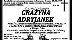 Zmarła Grażyna Adryjanek. Żyła 56 lat.