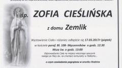 Zmarła Zofia Cieślińska. Żyła 69 lat.
