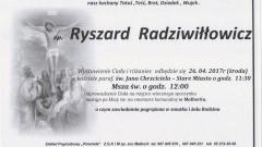 Zmarł Ryszard Radziwiłłowicz. Żył 88 lat.