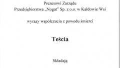 """Panu Wojciechowi Zegarek Prezesowi Zarządu Przedsiębiorstwa """"Nogat"""" Sp. z.o.o w Kałdowie Wsi"""