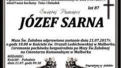Zmarł Józef Sarna. Żył 87 lat.