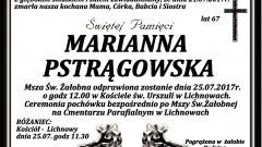 Zmarła Marianna Pstrągowska. Żyła 67 lat.