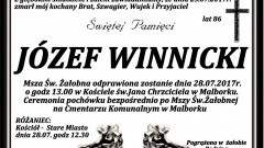 Zmarł Józef Winnicki. Żył 86 lat.