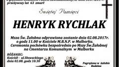 Zmarł Henryk Rychlak. Żył 63 lata.