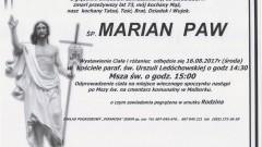 Zmarł Marian Paw. Żył 73 lat.