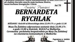 Zmarła Bernadeta Rychlak. Żyła 70 lat