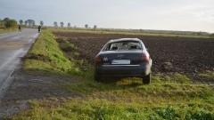 Nowinki.: Sarna wybiegła na drogę, Audi wypadło z drogi i dachowało. - 03.10.2017