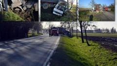 Marynowy: TIR uciekał przed samochodem osobowym. Skończył w rowie. - 17.11.2017