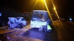 Krynica Morska: Wypadek. BMW uderzyło w autobus. - 18.11.2017