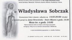 Zmarła Władysława Sobczak. Żyła 77 lat.