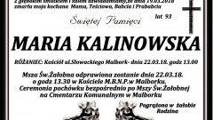 Zmarła Maria Kalinowska. Żyła 93 lata.