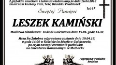 Zmarł Leszek Kamiński. Żył 67 lat.