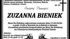 Zmarła Zuzanna Bieniek. Żyła 83 lata