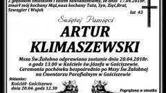 Zmarł Artur Klimaszewski. Żył 43 lata.