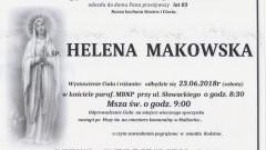 Zmarła Helena Makowska. Żyła 83 lata.