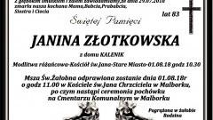 Zmarła Janina Złotkowska. Żyła 83 lata