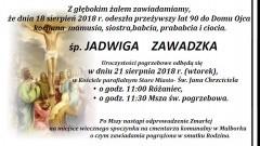 Zmarła Jadwiga Zawadzka. Żyła 90 lat.