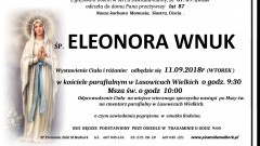 Zmarła Eleonora Wnuk. Żyła 87 lat.