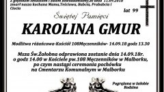 Zmarła Karolina Gmur. Żyła 99 lat.