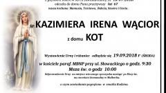 Zmarła Kazimiera Irena Wącior. Żyła 67 lat.