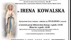 Zmarła Irena Kowalska. Żyła 68 lat.