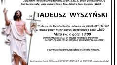 Zmarł Tadeusz Wyszyński. Żył 72 lata