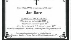Zmarł Jan Barc. Żył 76 lat.