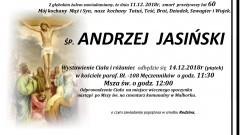 Zmarł Andrzej Jasiński. Żył 60 lat.