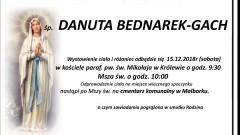 Zmarła Danuta Bednarek-Gach. Żyła 84 lata.