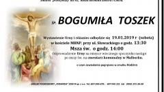 Zmarła Bogumiła Toszek. Żyła 65 lat.