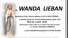 Zmarła Wanda Lieban. Żyła 70 lat.