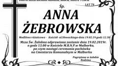 Zmarła Anna Żebrowska. Żyła 79 lat.