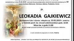 Zmarła Leokadia Gajkiewicz. Żyła 94 lata.