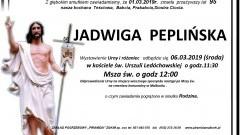 Zmarła Jadwiga Peplińska. Żyła 95 lat.