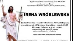 Zmarła Irena Wróblewska. Żyła 87 lat.