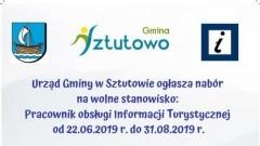 Sztutowo: Pracownik obsługi Informacji Turystycznej. Ogłoszenie Urzędu Gminy.