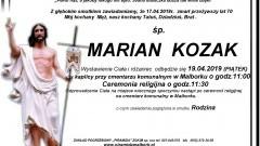 Zmarł Marian Kozak. Żył 70 lat.