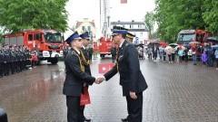 Powiatowy Dzień Strażaka w Nowym Dworze Gdańskim. Zła pogoda nie przeszkodziła w obchodach.