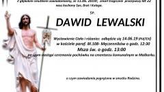 Zmarł Dawid Lewalski. Żył 22 lata.
