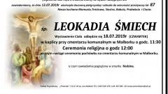 Zmarła Leokadia Śmiech. Żyła 87 lat.