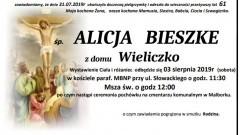 Zmarła Alicja Bieszke. Żyła 61 lat.